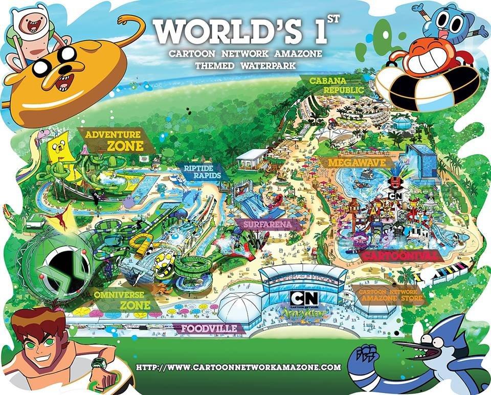 Карта аквапарка Cartoon Network в Паттайе