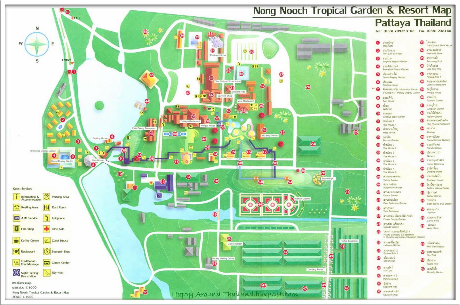 Карта парка Нонг Нуч в Паттайе