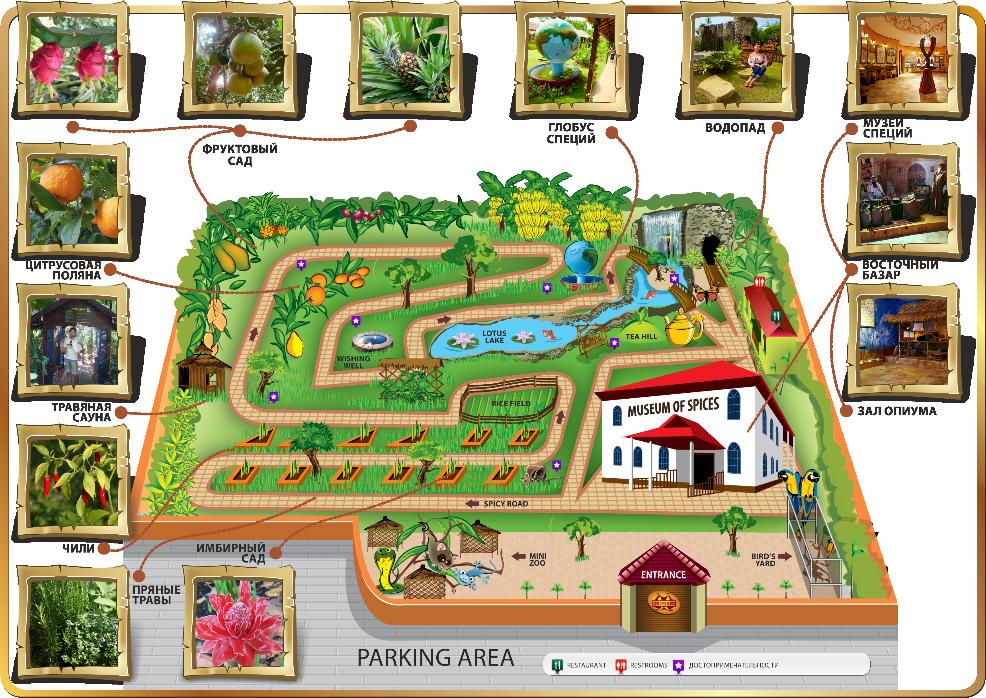 Карта Сада Специй в Паттайе