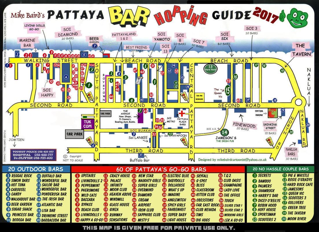 Карта баров Паттайи