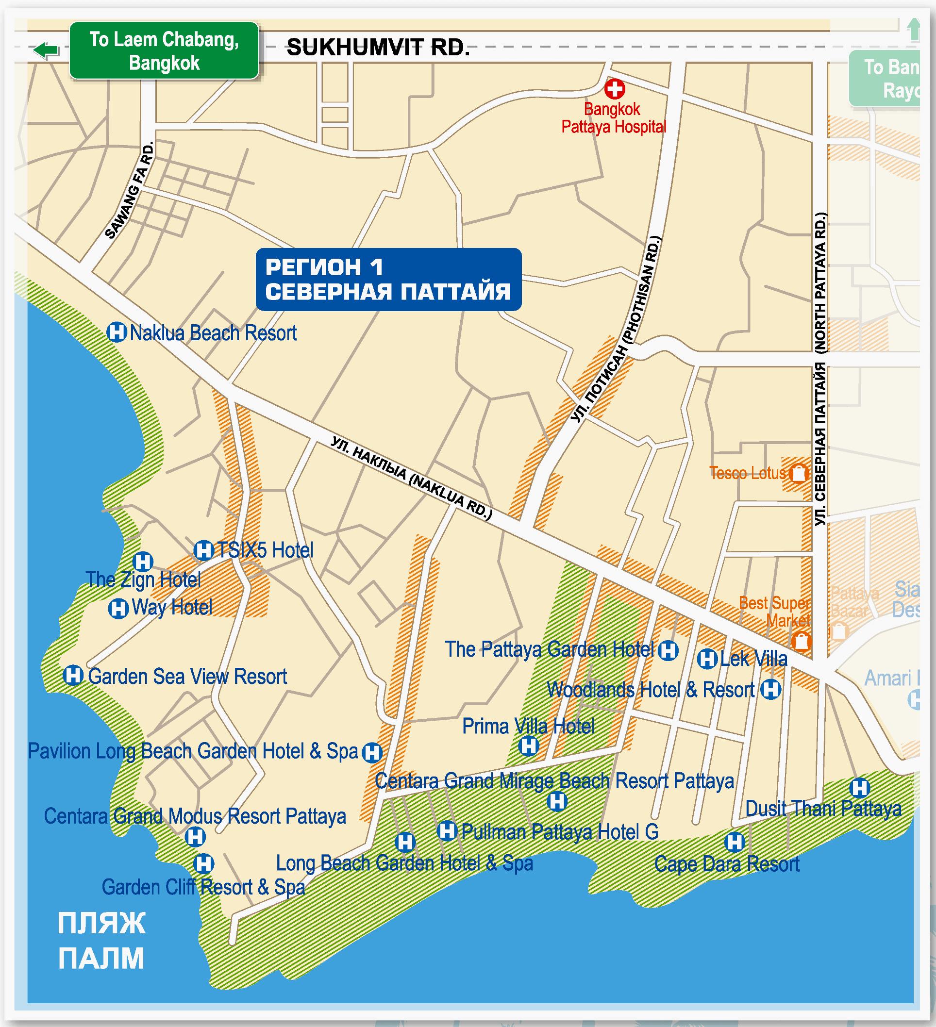 Карта Наклуа с отелями