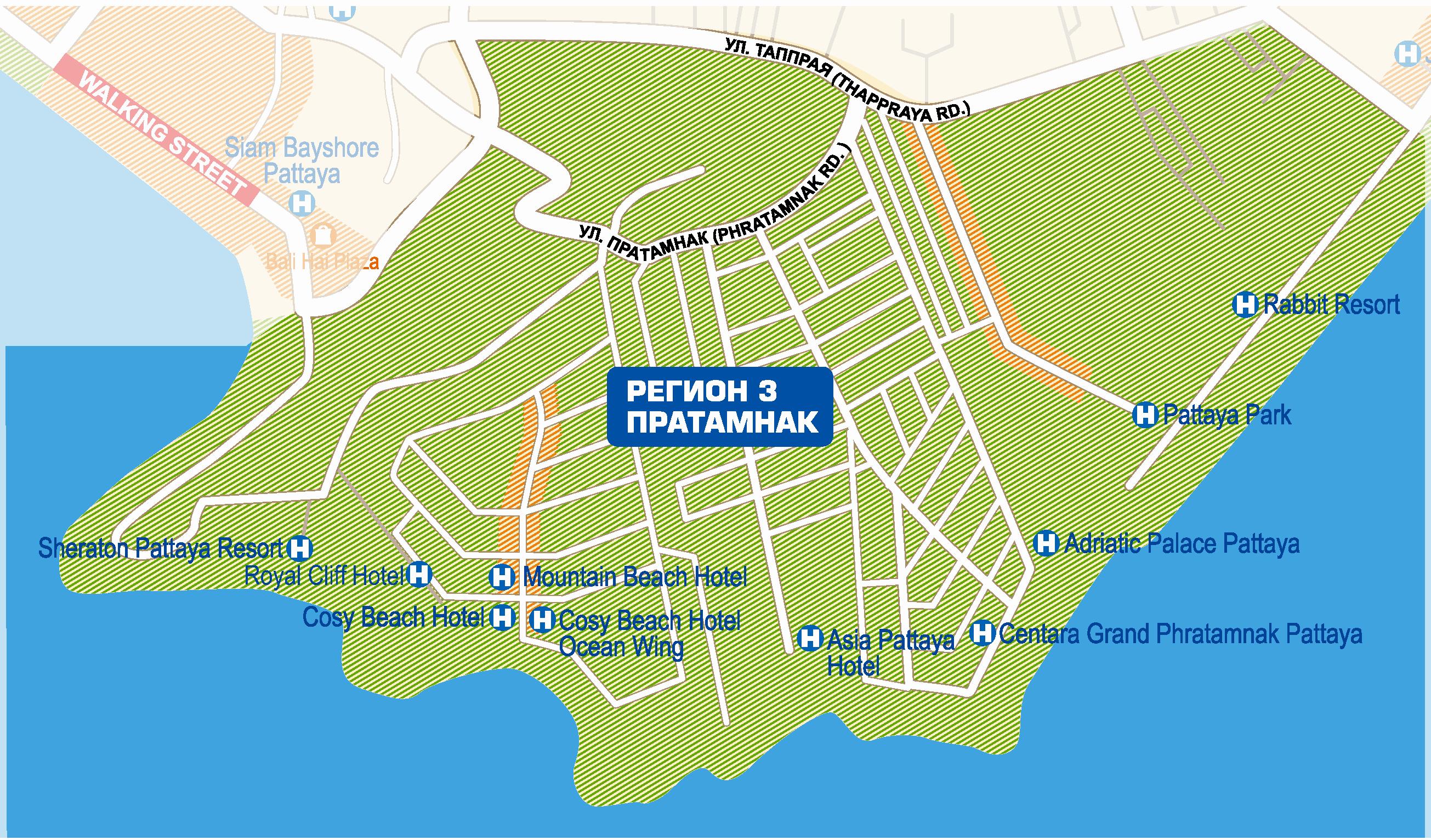 Карта Пратамнака с отелями