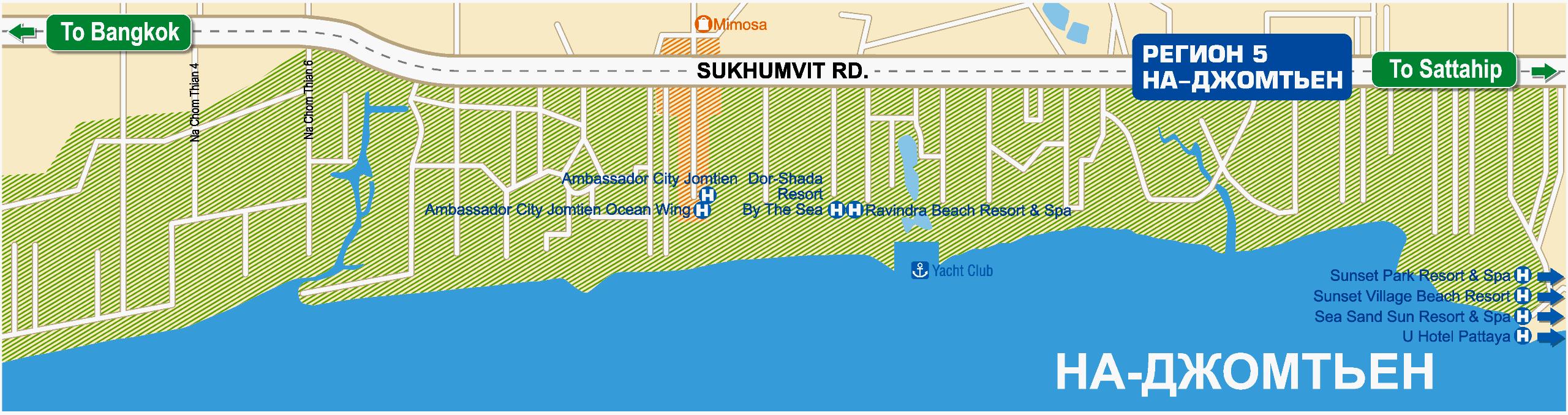 Карта На-Джомтьена с отелями