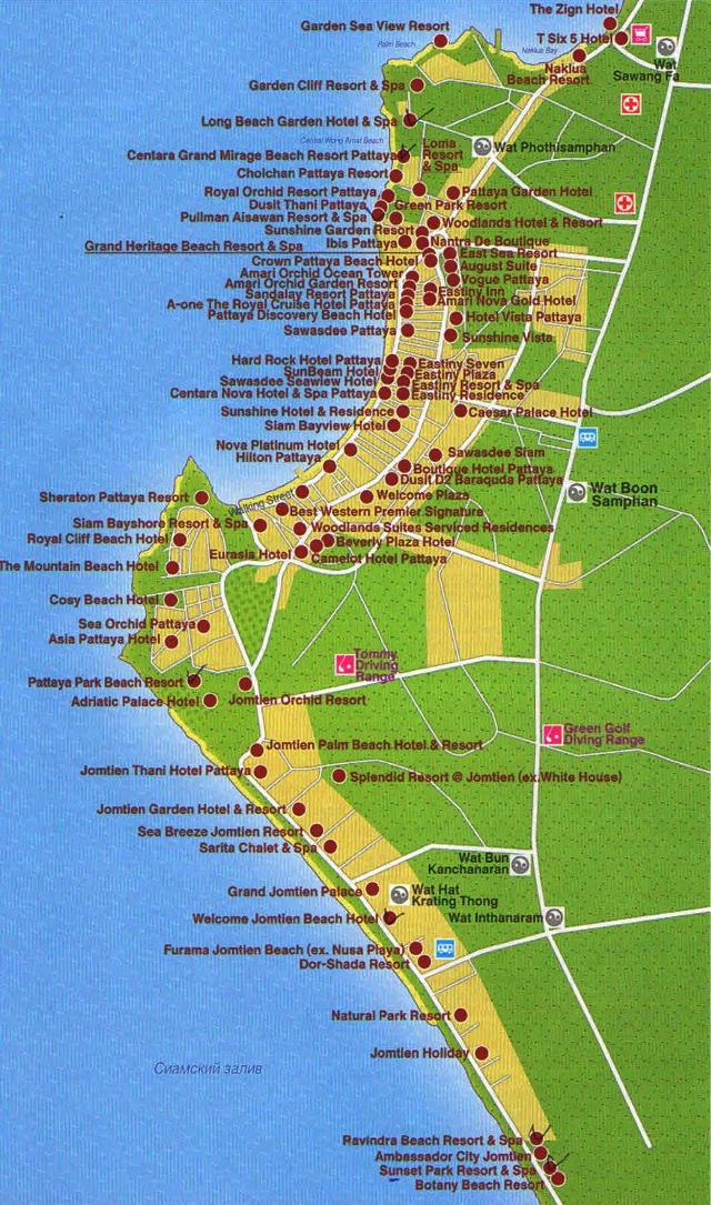 Карта Паттайи с отелями на английском языке