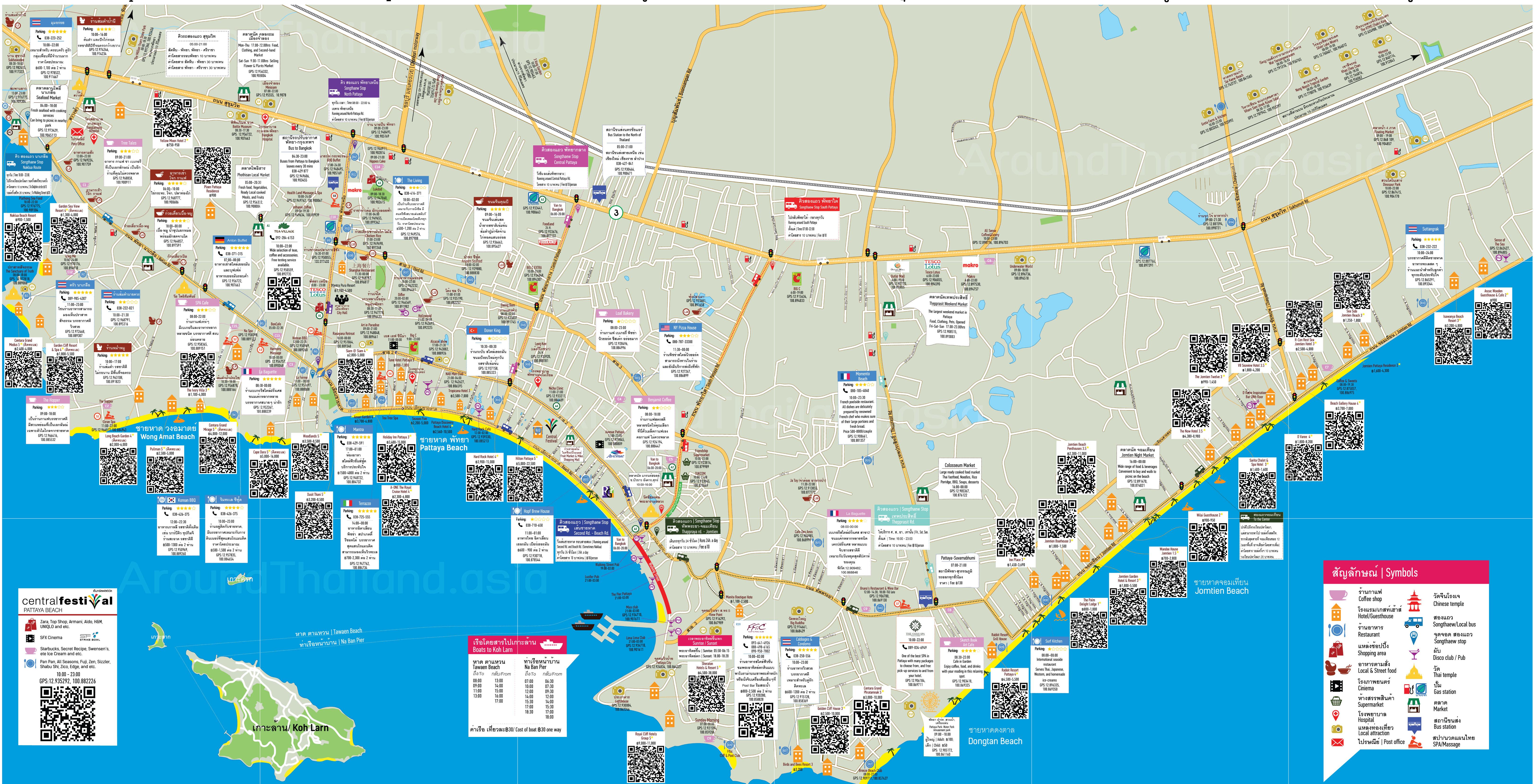 Карта Паттайи на английском языке
