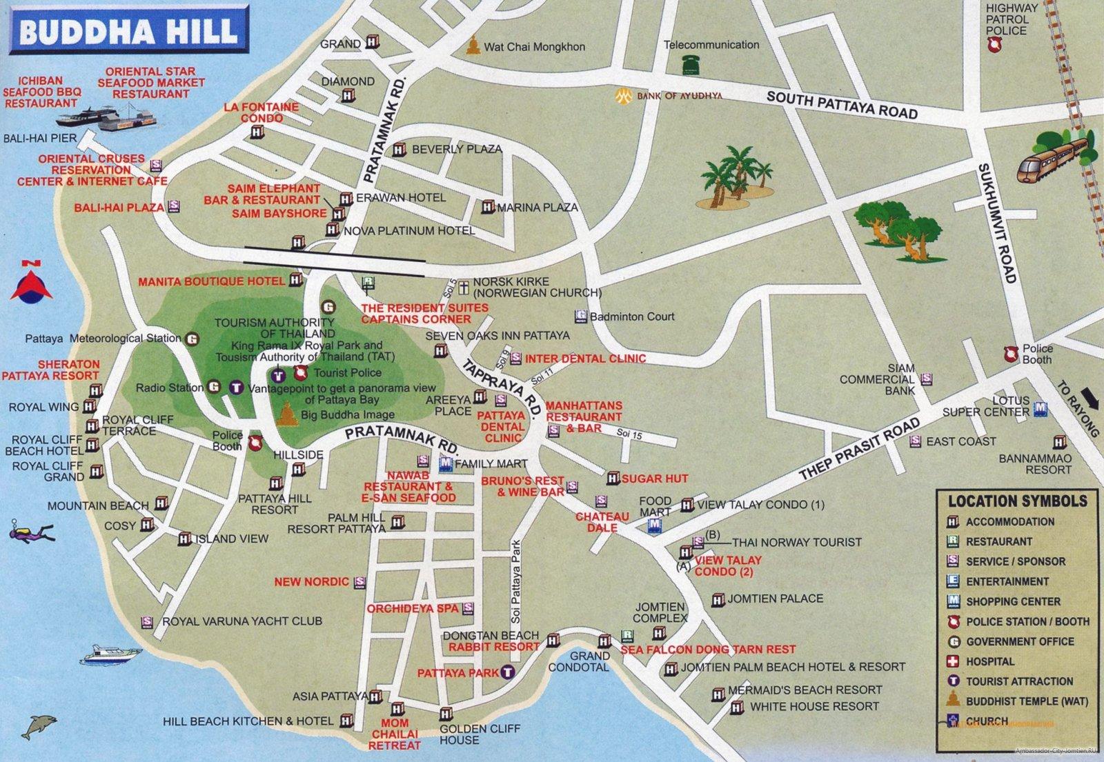 Карта Пратамнака с отелями на русском языке