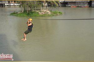 Полёт на тросе по канату через 130 метровое озеро