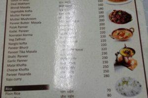 Меню с ценами в кафе Паттайи